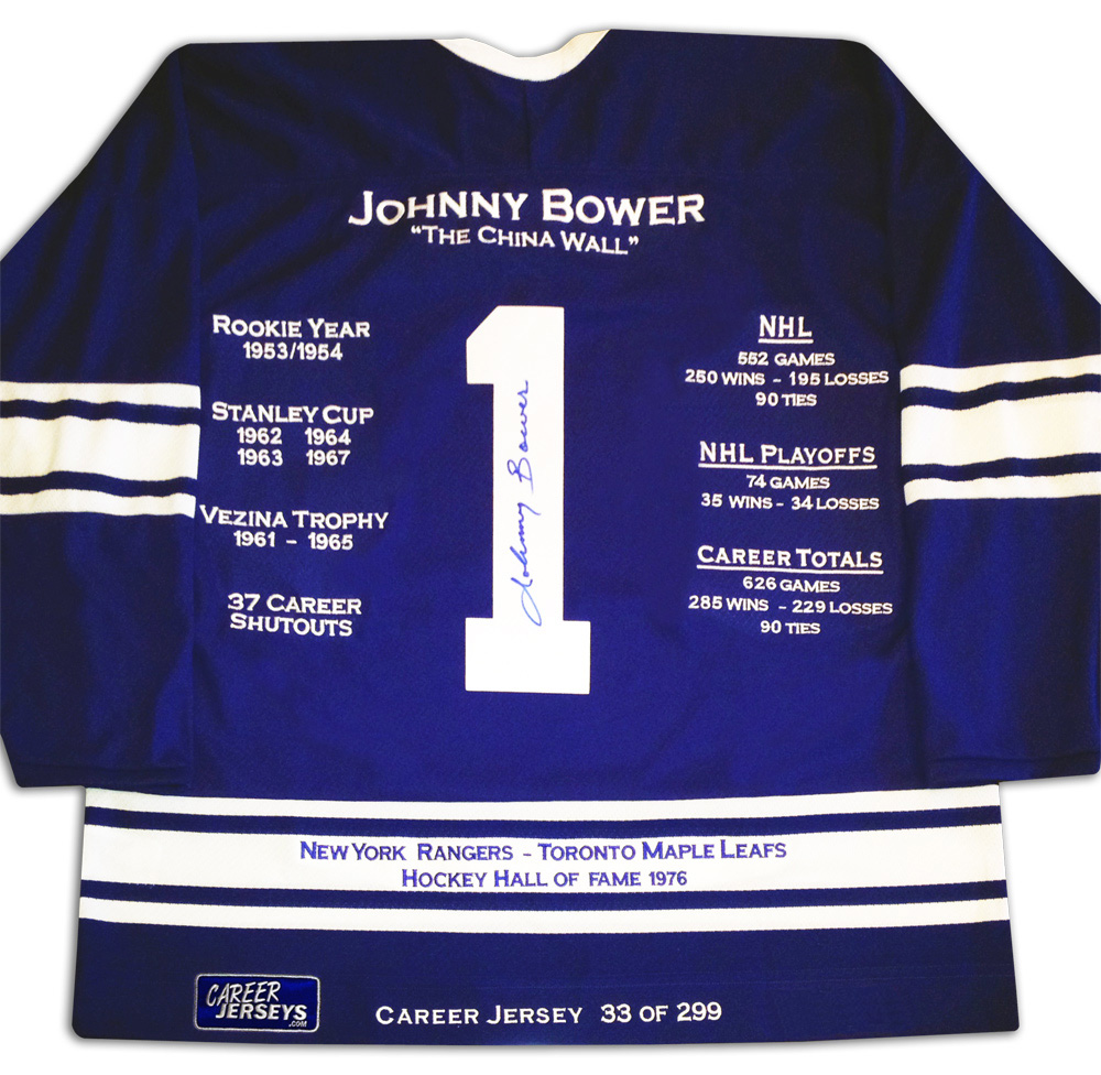 15f8d9b5e The Johnny Bower Career Jersey is an autographed limited edition jersey