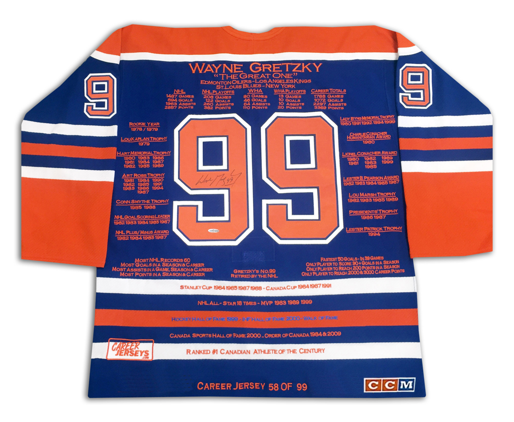 The Wayne Gretzky Career Jersey is an autographed limited edition jersey ee796479e